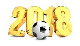 übertragen Fußballfußballball 2018 goldenes 3d Symbol Lizenzfreie Stockfotografie
