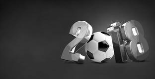 übertragen Fußballsymbol-Silberfußball 2018 3d Lizenzfreie Stockfotografie