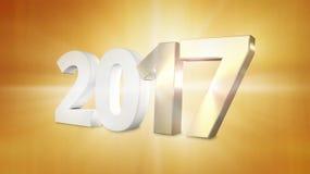 Übertragen grafisches Gold goldene 2017 2017 3d lizenzfreie abbildung
