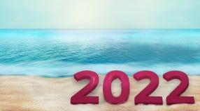übertragen mutiger Strandhintergrund 3d des Gusses 2022 Lizenzfreies Stockbild