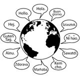 Übertragen Sie Erde-Sprachen sagen hallo Welt lizenzfreie abbildung