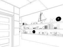 Übertragen Sie Innenarchitektur des Wohnzimmers des offenen Raumes im Luxushaus Stockfoto