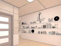Übertragen Sie Innenarchitektur des Wohnzimmers des offenen Raumes im Luxushaus Stockbild