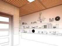 Übertragen Sie Innenarchitektur des Wohnzimmers des offenen Raumes im Luxushaus Stockfotografie