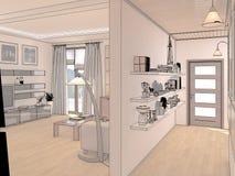 Übertragen Sie Innenarchitektur des Wohnzimmers des offenen Raumes im Luxushaus Lizenzfreie Stockfotografie