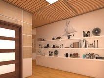 Übertragen Sie Innenarchitektur des Wohnzimmers des offenen Raumes im Luxushaus Lizenzfreies Stockbild