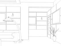 Übertragen Sie Innenarchitektur des Wohnzimmers des offenen Raumes im Luxushaus Lizenzfreie Stockfotos