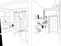 Übertragen Sie Innenarchitektur des Wohnzimmers des offenen Raumes im Luxushaus Stockbilder