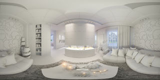 Übertragen Sie nahtloses Panorama des Wohnzimmerinnenraums Lizenzfreie Stockfotos