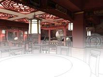 Übertragen Sie Schwarzweiss-Skizze der Innenarchitektur des chinesischen Restaurants Lizenzfreie Stockfotografie