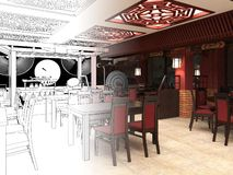 Übertragen Sie Schwarzweiss-Skizze der Innenarchitektur des chinesischen Restaurants Stockbild