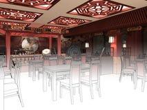 Übertragen Sie Schwarzweiss-Skizze der Innenarchitektur des chinesischen Restaurants Stockfotografie