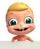 Übertragen Sie vom Baby mit weißem Brett Lizenzfreie Stockbilder