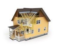 Übertragen Sie vom Haus im Bauprozess Stockfoto