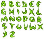Übertragen Sie von den grünen Bioeco Alphabetschrifttypen Stockbilder