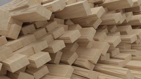 Übertragen Sie von den Strahlen und von den Planken des Bauholzes 3D lizenzfreie stockfotografie