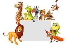 übertragene Illustration des wilden Tieres mit weißem Brett Lizenzfreie Stockfotos