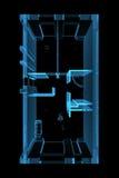 Übertragene transparente Ebene des blauen Röntgenstrahls Stockfotografie