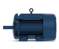 Übertragener blauer glänzender Elektromotor Stockbild