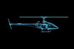 Übertragener transparenter blauer Hubschrauber des Röntgenstrahls Stockbilder