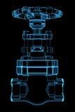Übertragenes blaues transparentes Ventil des Röntgenstrahls Stockbilder