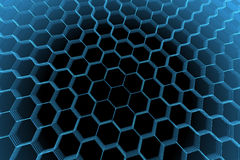Übertragenes transparentes abstraktes Hexagon des blauen Röntgenstrahls Stockbilder