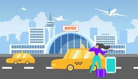 Übertragung auf Flughafen mit Taxi-Service-Ebenen-Vektor vektor abbildung