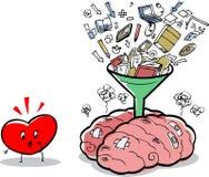 Übervolles Gehirn und besorgtes Herz Stockfotografie