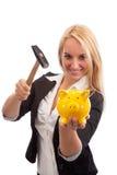 Überwältigende piggy Bank der jungen Frau Stockbild