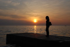 Überwachen des Sonnenuntergangs lizenzfreies stockbild