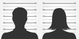 Überwachen Sie Aufstellung oder Mugshot des anonymen Mannes u. der weiblichen Schattenbilder polizeilich Lizenzfreie Stockfotos