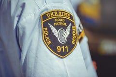Überwachen Sie Flecken auf den Hemden des Hemdes im Rahmen des Sicherheitstages in Kiew polizeilich Lizenzfreies Stockfoto