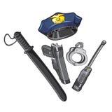 Überwachen Sie Kappe, Taktstock, Handschellen, Funksprechgerät polizeilich Lizenzfreies Stockfoto