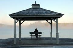 Überwachende Sonne der Frau, als Nebel zu steigen steigt vor See Stockfotos