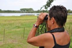 Überwachende Vögel der älteren Frau Lizenzfreie Stockfotos