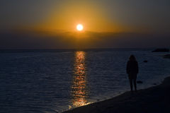 Überwachender Sonnenuntergang der einsamen Frau Lizenzfreie Stockbilder
