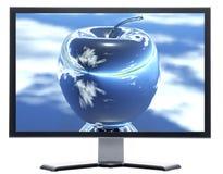 Überwachungsgerät mit Apfel auf Bildschirm Stockfotos