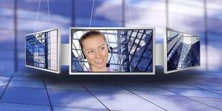 Überwachungsgeräte mit Geschäftsarchitekturhintergrund Lizenzfreie Stockbilder