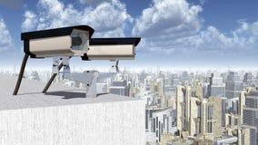Überwachungskamera über einer Stadt Stockfotografie