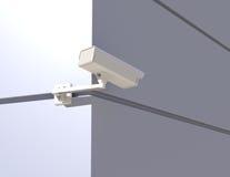 Überwachungskamera, die um die Ecke späht Stockbilder