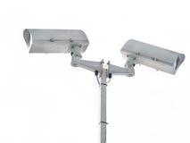 Überwachungskamera getrennt auf Weiß Stockfotografie