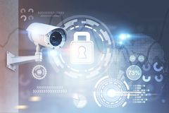 Überwachungskamera, Sicherheit HUD stockfotografie