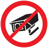 Überwachungskamera verbotenes Symbol Stockbild