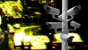 Überwachungskameras in einer Landstraße stock abbildung