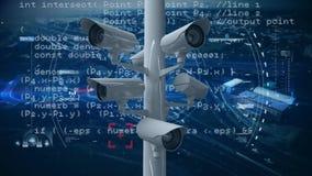 Überwachungskameras mit Programmcodes lizenzfreie abbildung