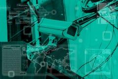 Überwachungskameratechnologie auf Bildschirmanzeige Lizenzfreie Stockfotografie