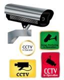 Überwachungskamerazeichen Stockfotografie
