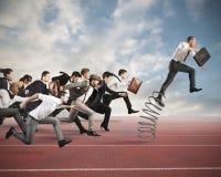 Überwinden Sie und erzielen Sie Erfolg Stockfotos