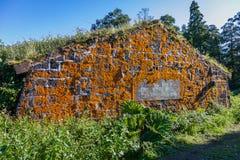 Überwucherte orange Flechte des alten Hauses, Sao Miguel Island, Azoren stockfoto