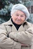 Überzeugte ältere Frau lizenzfreies stockfoto